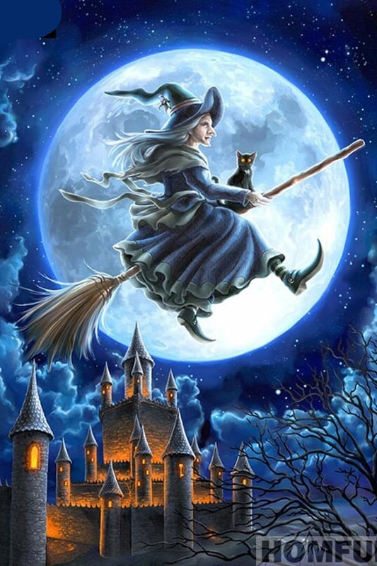 Broderie Diamant Halloween Pleine Lune