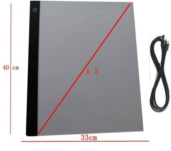 Broderie Diamant Tablette LED dimension