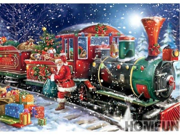 Broderie Diamant Train De Noel
