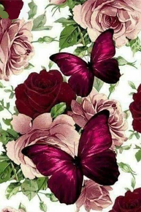 Broderie Diamants Fleurs & Papillon