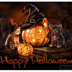 Broderie Diamant Halloween Chats