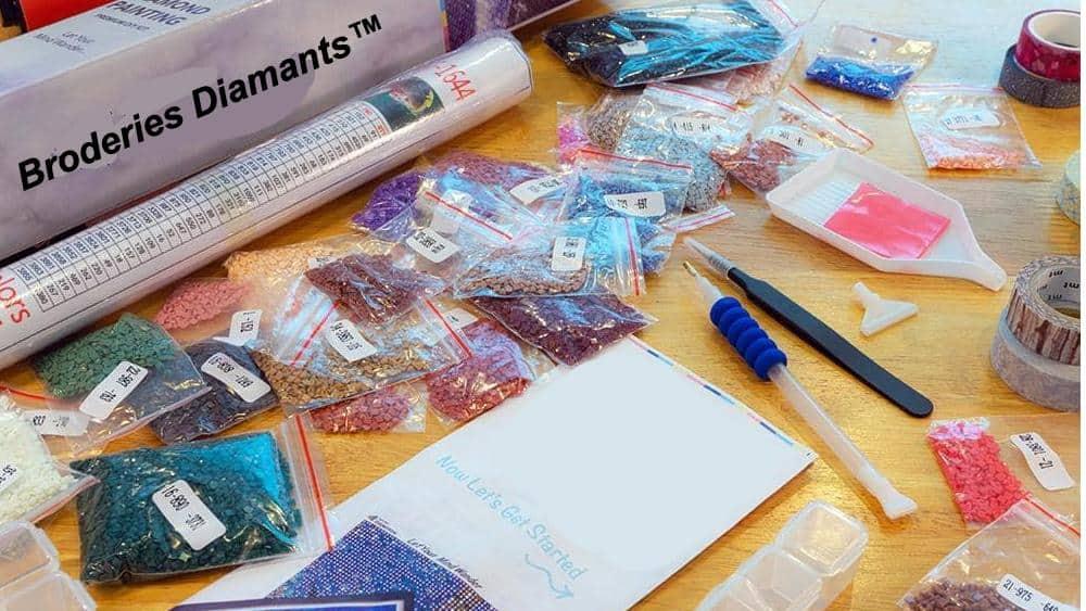 kit complet de peinture au diamant avec tout ce qu'il faut